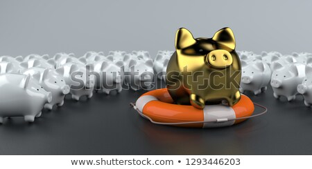 golden piggy bank life preserver stock photo © limbi007