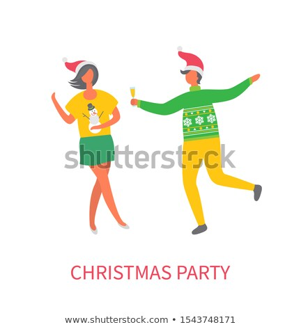 Christmas Party, Woman in Skirt, Man Glass of Wine Stock photo © robuart