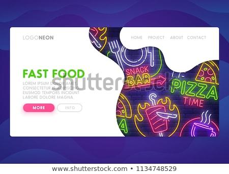Fast food menu neon lądowanie strona bar Zdjęcia stock © Anna_leni