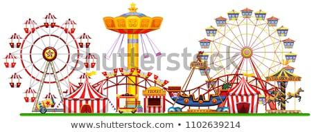 color vintage amusement park banner stok fotoğraf © netkov1