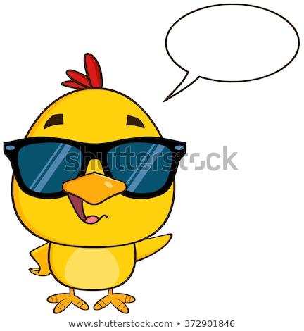 Cute Yellow Chick Cartoon Character Wearing Sunglasses, Talking And Waving Stock photo © hittoon