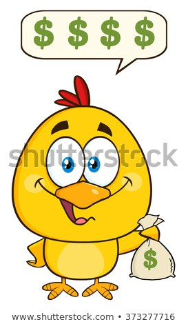cute yellow chick cartoon character holding money bags and talking stock photo © hittoon
