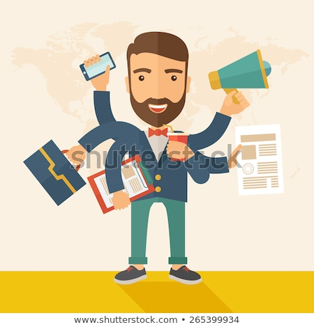 businessman doing multitasking work in office stock photo © andreypopov
