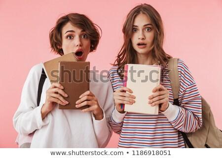 Megrémült nők barátok izolált rózsaszín fal Stock fotó © deandrobot