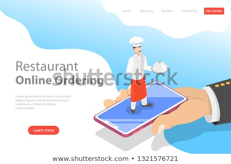 Flat vector landing page template of table online reservation, mobile booking. Stock photo © TarikVision