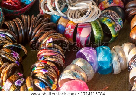 Handmade colorful bracelets in a local market of Bali, Indonesia Stock photo © galitskaya