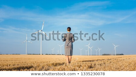 investor in green energy looking at her wind turbines stock photo © kzenon