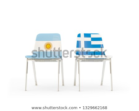 two chairs with flags of argentina and greece stock photo © mikhailmishchenko