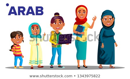 Arab, Muslim Generation Female Set People Person Vector. Mother, Daughter, Granddaughter, Baby. Isol Stock photo © pikepicture