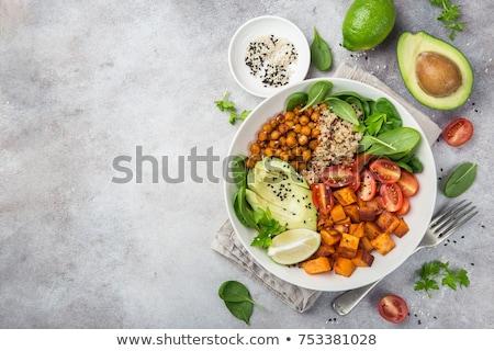 vegan · buda · tigela · legumes · arroz · coco - foto stock © yuliyagontar