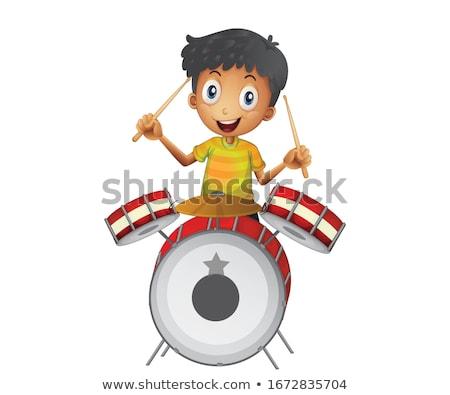 Criança menino jogar bateria ilustração tambor Foto stock © lenm