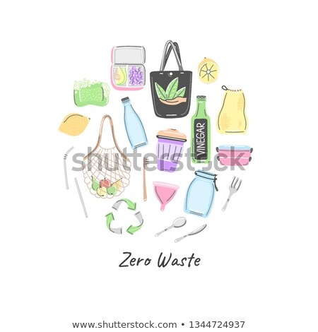 Hand drawn zero waste objects in round shape. Eco lifestyle. Save planet. Care of nature. Vegan. No  Stock photo © user_10144511