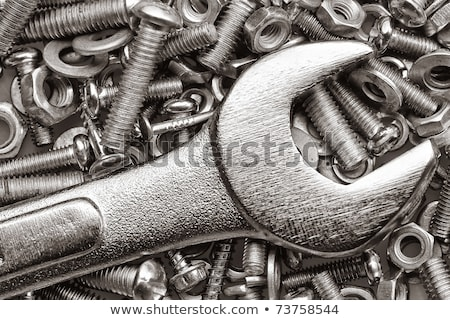 Chrome spanner, nuts and bolts useful as a background Stock photo © kayros