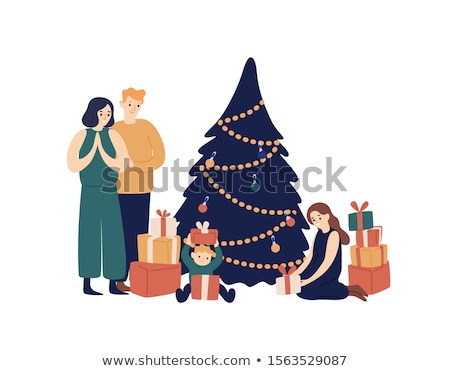 christmas holidays children unpacking gifts vector stock photo © robuart