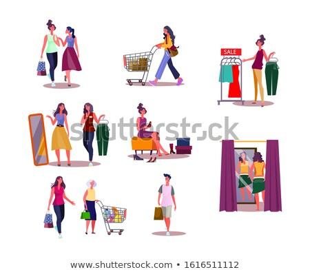 Foto stock: Mulher · compras · tempo · vetor · web · design · ilustração