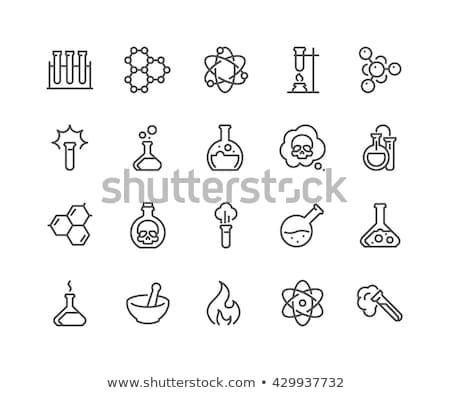 Kémia biológia tudomány vonal ikonok ikon gyűjtemény Stock fotó © soleilc
