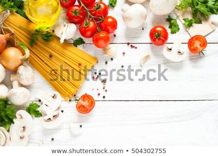 Сток-фото: сырой · пасты · таблице · деревянный · стол · продовольствие · фон