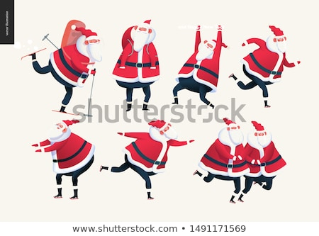 Merry Christmas Greeting Cards Santa Claus Skating Stock photo © robuart