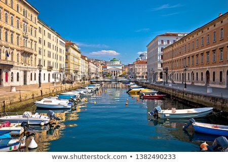 Ponte Rosso channel in Trieste italian cafe view Stock photo © xbrchx
