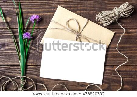 Hecho a mano dotación post tarjeta púrpura Foto stock © artjazz