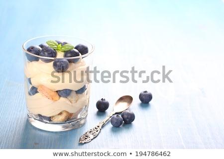 Fresh blueberry layered desert with mascarpone cream and cookies Stock photo © Melnyk