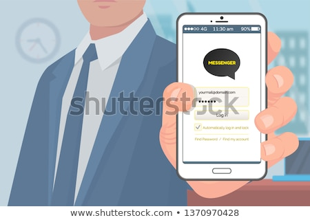 Kakao talk Korean Messenger in Hand of Businessman Stock photo © robuart