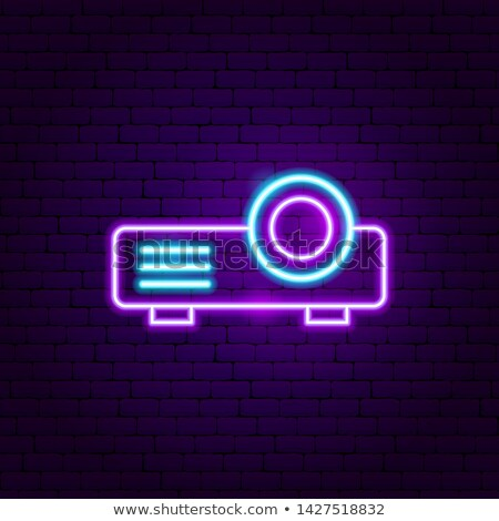 Film projector neon label elektronica promotie Stockfoto © Anna_leni