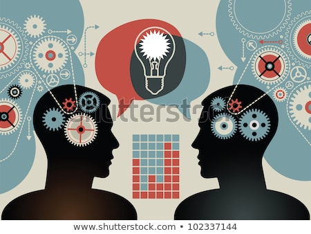 Processor Gear Wheels Human Head Idea Bulbs Stock photo © limbi007