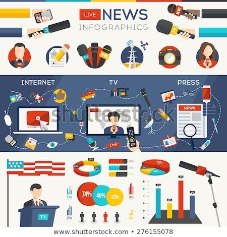 Wykresy infografiki laptop masa mediów transmitowanie Zdjęcia stock © robuart