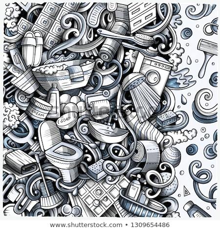 Fürdőszoba kézzel rajzolt vektor firkák illusztráció fürdőkád Stock fotó © balabolka