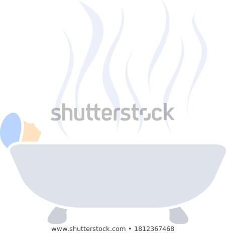 Donna vasca da bagno icona lucido pulsante design Foto d'archivio © angelp
