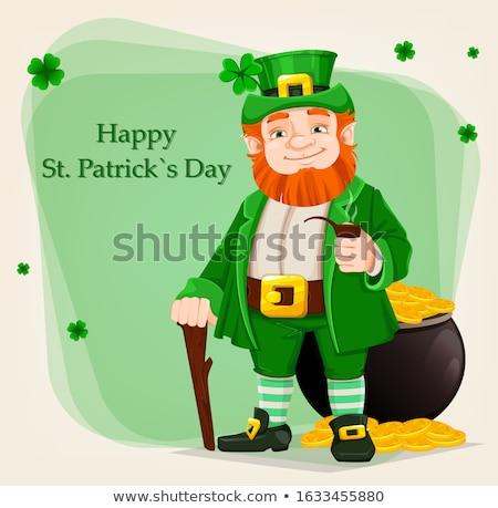 Green Leprechaun Standing by Pot of Gold Drawing Stock photo © patrimonio