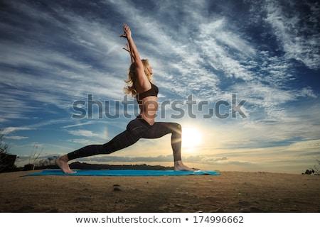 ioga · cobra · pose · mulher · grama · verde · parque - foto stock © freedomz