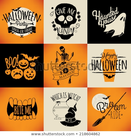 Cadı süpürge halloween karikatür kabak yalıtılmış Stok fotoğraf © nazlisart