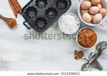 Pompoen muffin brood ingrediënten schaal licht Stockfoto © StephanieFrey