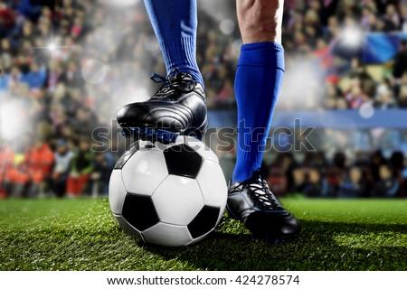 vízszintes · futball · közelkép · fut · labda · labdarúgó - stock fotó © matimix