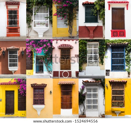 Set of typical Latin American colonial window in Cartagena, Colo Stock photo © boggy