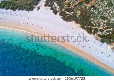 stara baska island of krk pebble nearat stara baska aerial view stock photo © xbrchx