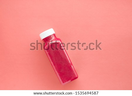 Detox red fruit smoothie juice in a bottle, diet catering delive Stock photo © Anneleven