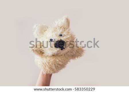 Kukla göstermek köpek gri uzay metin Stok fotoğraf © galitskaya