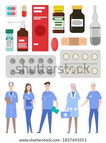медицина таблетки капсулы бутылку икона изолированный Сток-фото © Imaagio