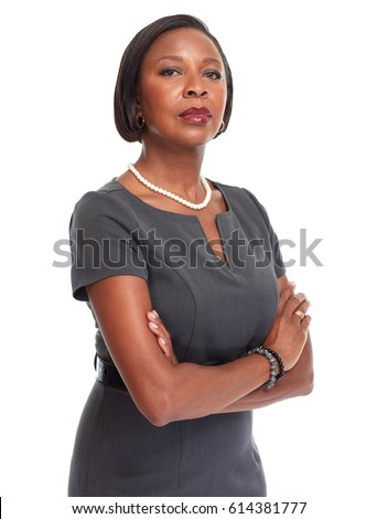 Mature Business woman isolated on black background Stock photo © Lopolo