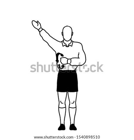 Rugby Referee penalty not releasing the ball when tackled Signal Drawing Retro Stock photo © patrimonio