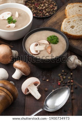 Cerámica tazón placas cremoso castaño champiñón Foto stock © DenisMArt