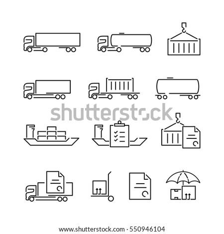 современных логистика транспорт иконки изолированный темно Сток-фото © ukasz_hampel