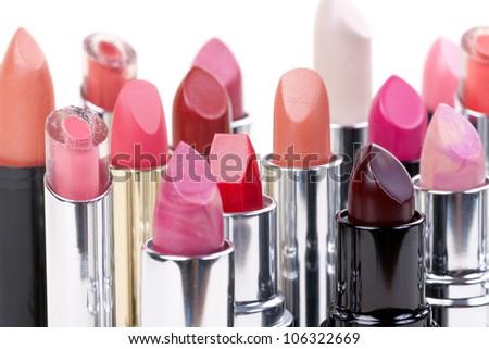 Beauty producten een ingesteld lippenstift make Stockfoto © ElenaBatkova
