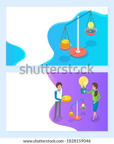 Crowdfunding Scales with Money and Light Bulb Web Stock photo © robuart