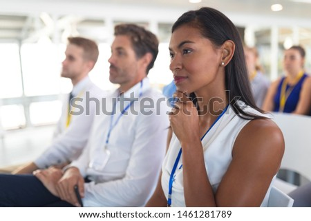 Side view of diverse business people attending a business seminar in conference room. with black bus Stock photo © wavebreak_media