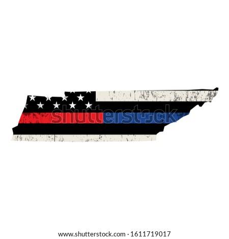 Tennessee policji strażak wsparcia banderą amerykańską flagę Zdjęcia stock © enterlinedesign