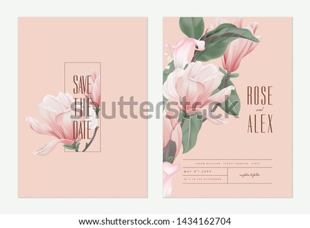 Botanical template design, pink lily flowers and leaves on grey background, vintage style. Vector il Stock photo © ikopylov